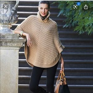 Talbots cable knit poncho